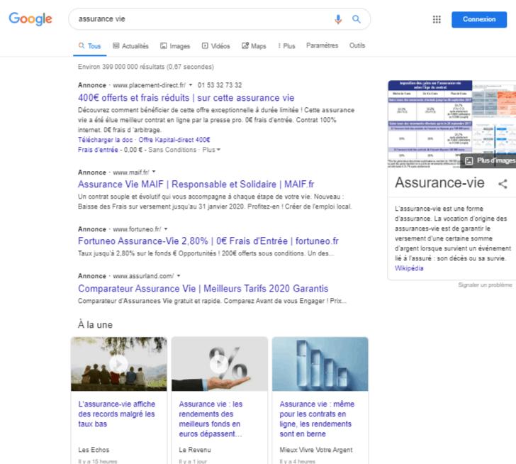 Exemple assurance vie - annonce google Ads - qu est ce que google ads