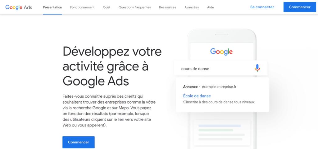 Homepage création compte google ads