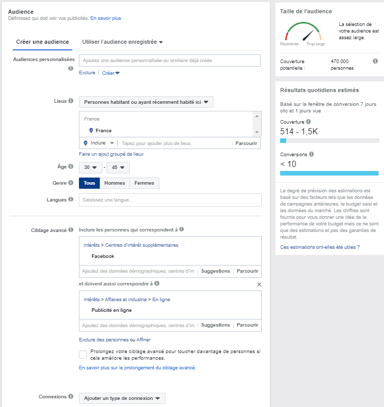 Configurer son audience sur Facebook