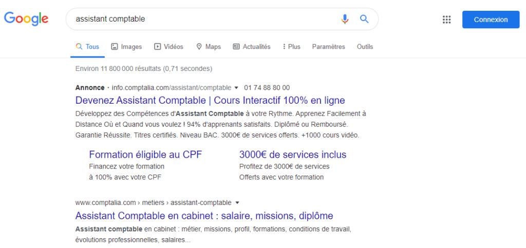 Exemple Assitant comptable - chiffre et statistique - Creer une annonce Google Ads efficace
