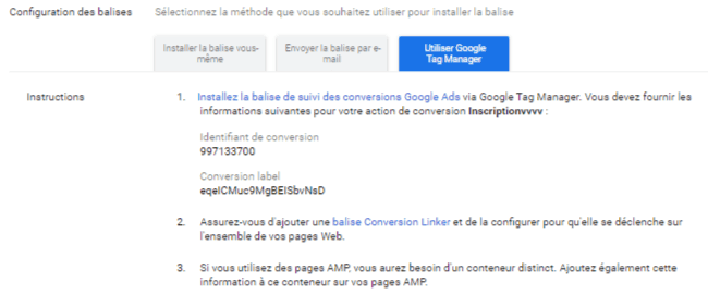 Configuration Google Tag Manager