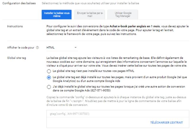 Configuration balise Google Ads Premiere option - Suivi des conversions Google Ads