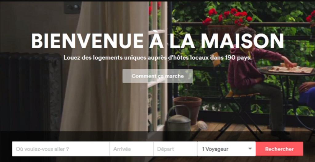 Airbnb homepage - Optimisation landing page