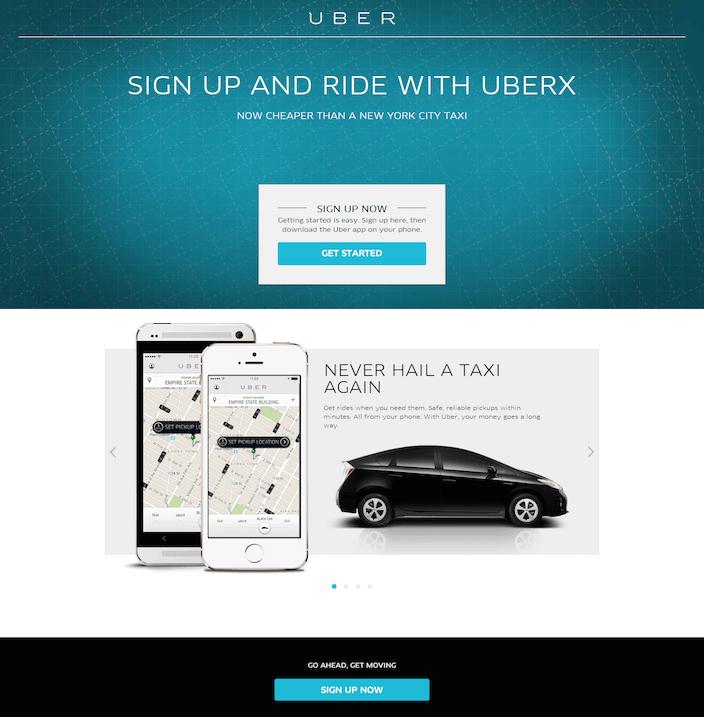 Uber Landing page - Optimisation landing page