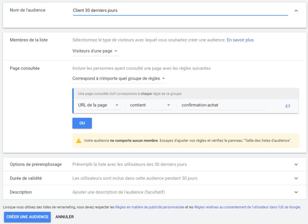 Configuration audience remarketing google