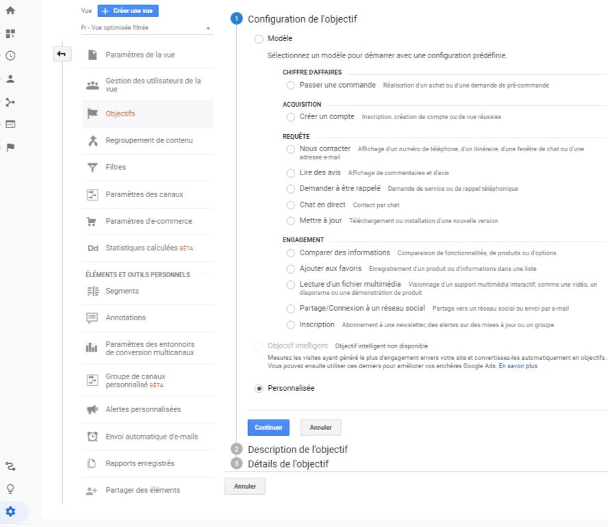 Configuration Objectif analytics - Liste objectif