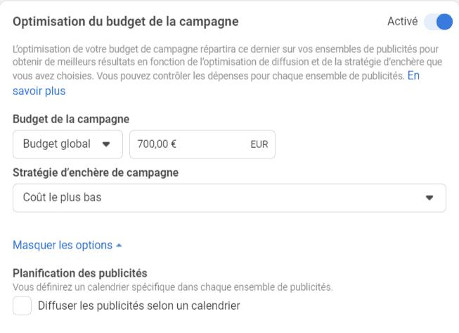 Optimisation du budget de la campagne