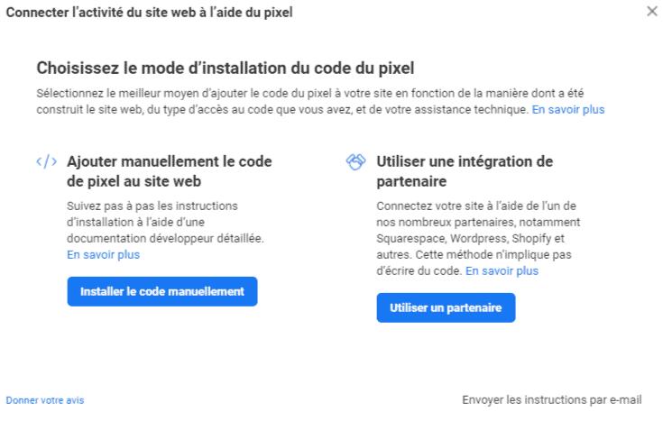 Installer manuellement ou partenaire Pixel Facebook