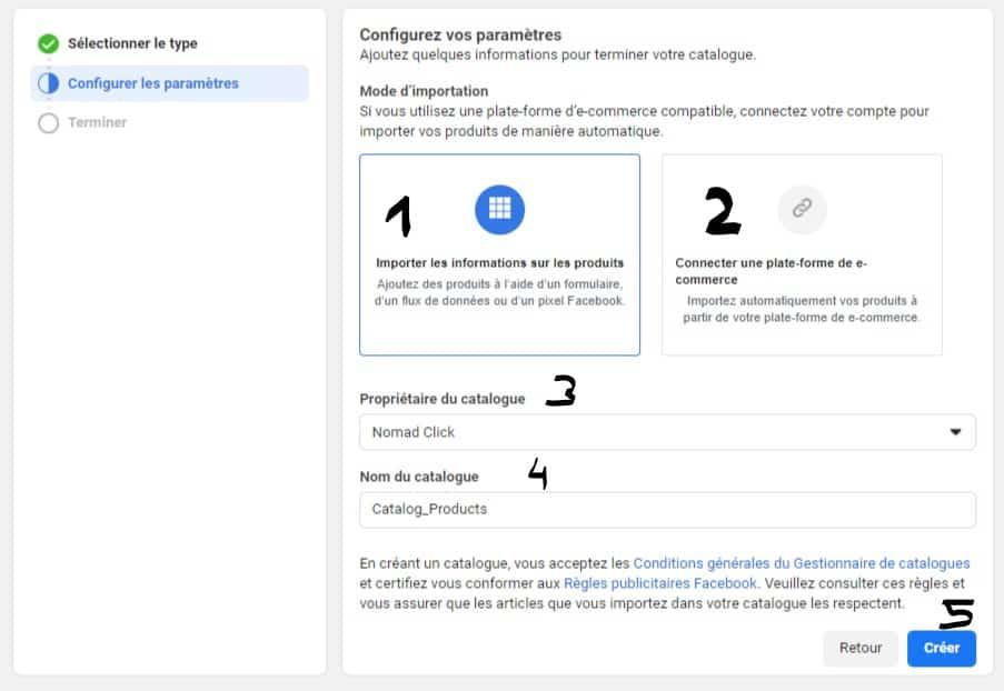 Configurer le catalogue Facebook