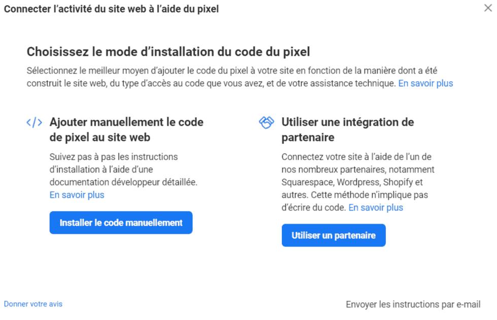 Option d'installation du pixel Facebook