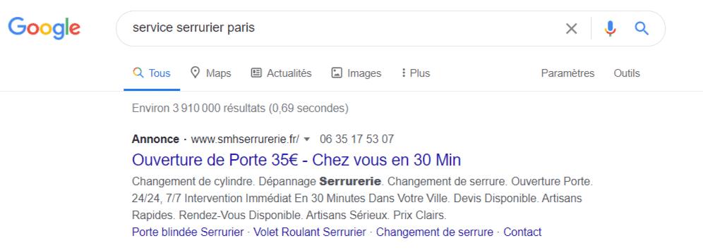 métrique nombre de clics google ads