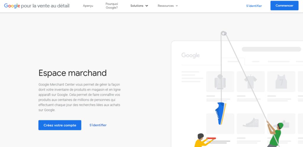 Créer votre compte google merchant center