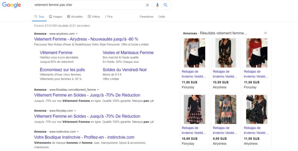 Exemple des résultats Google Shopping avec vêtement femme pas cher