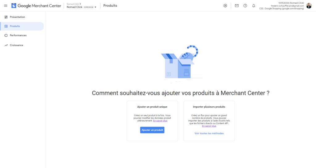 Ajouter un produit dans Google Merchant Center