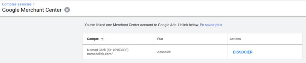 Compte Google Merchant associé à Google Ads