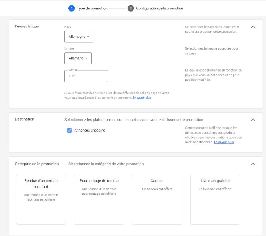 Configuration promotion Google Merchant Center