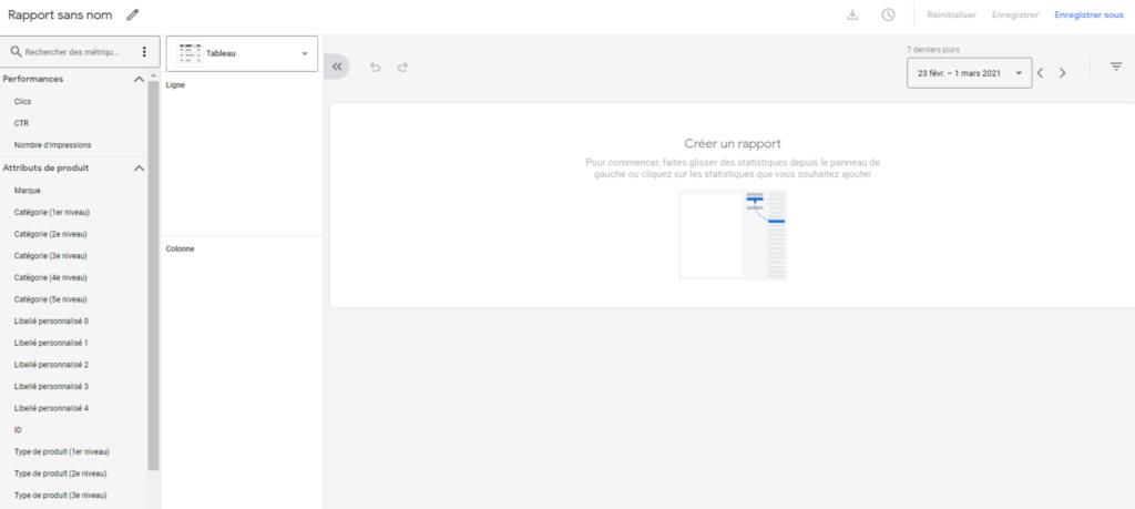 Créer un rapport dans Google Merchant Center