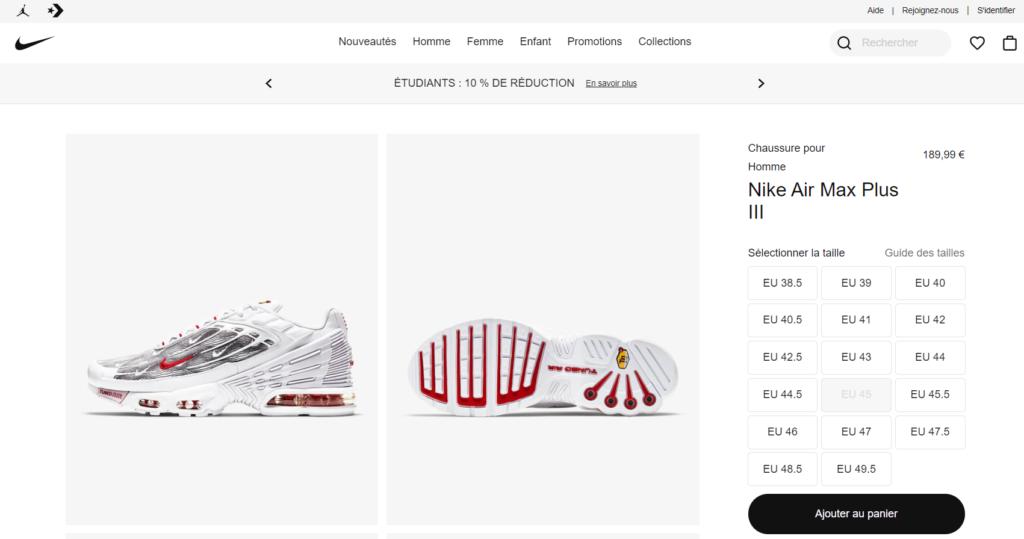 Exemple Nike AIR max 3 pour ajout de produit dans Google Merchant Center