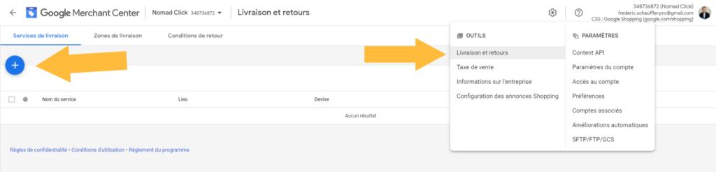 service de Livraison Google Merchant center