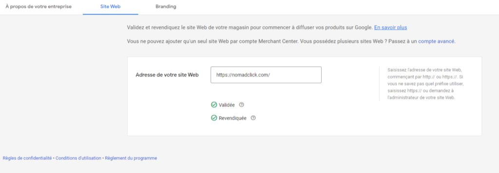 Site revendiqué Google Merchant Center