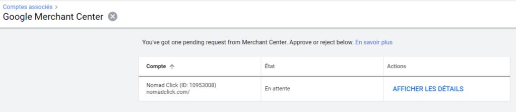 Valider dans Google Ads l'association avec Google Merchant Center