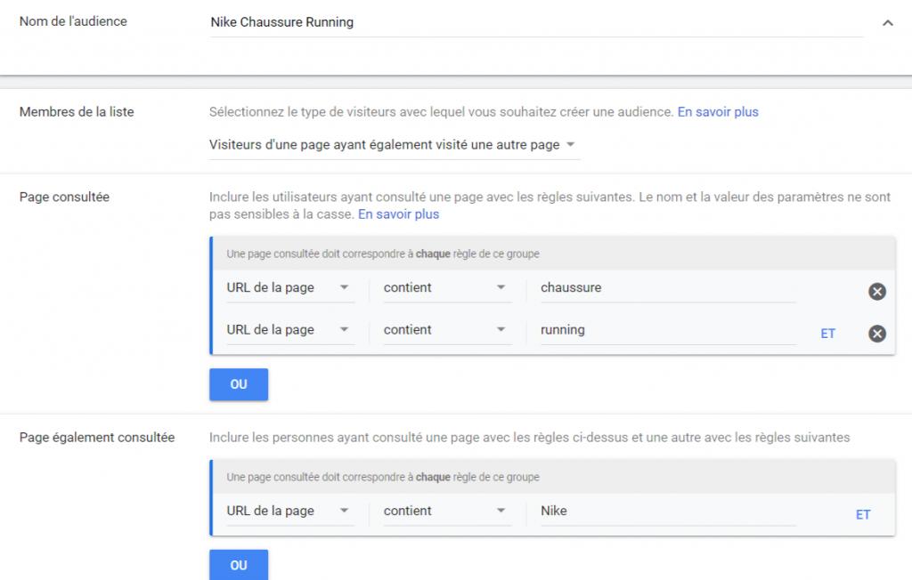 configuration audience remarketing Google Ads site web