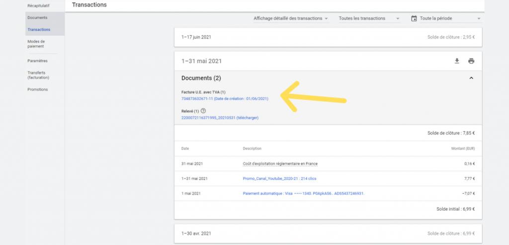 Transactions Paiement et facture Google Ads