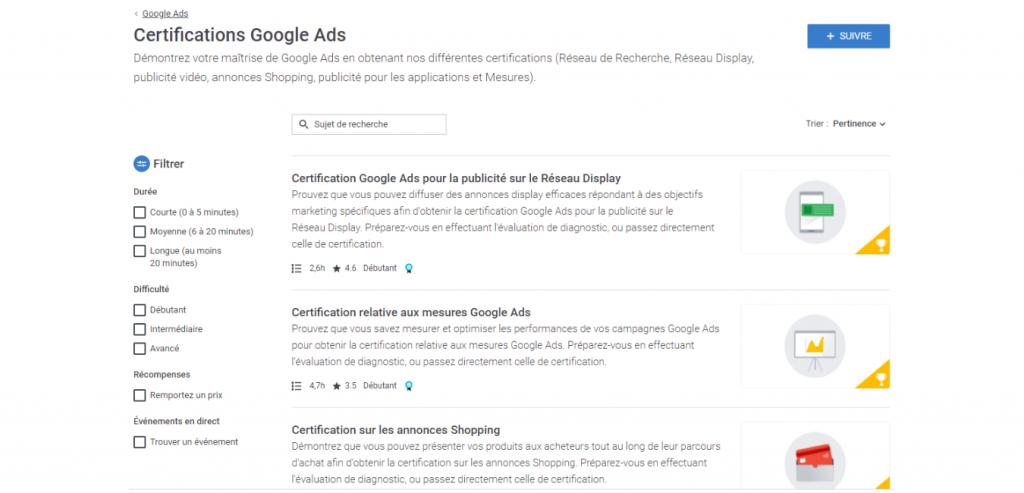 Liste des certifications de Google