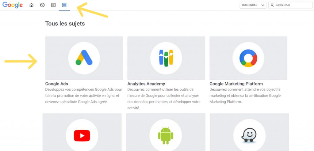 Rubrique Google dans skillshop