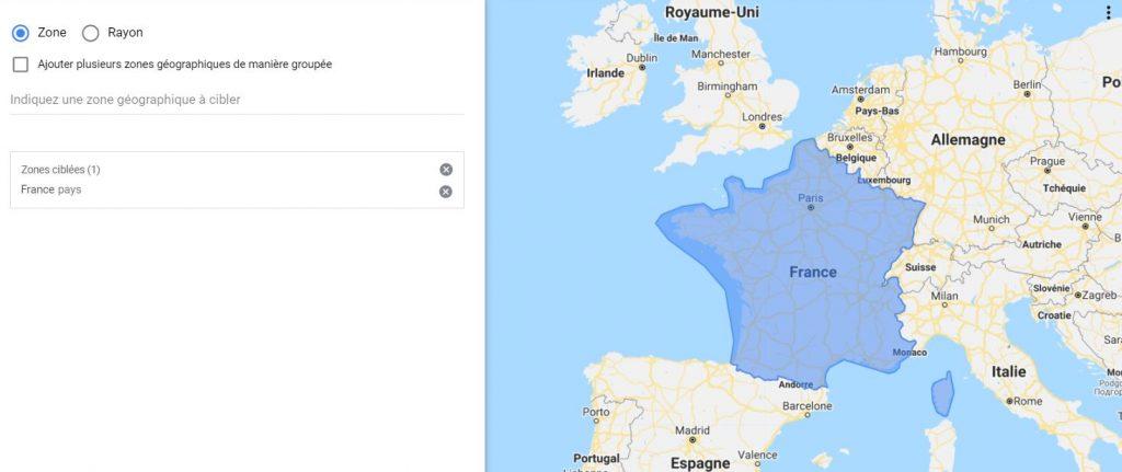 zone géographique google
