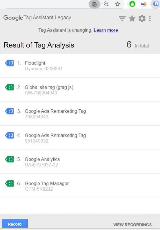 Google Tag Assitant
