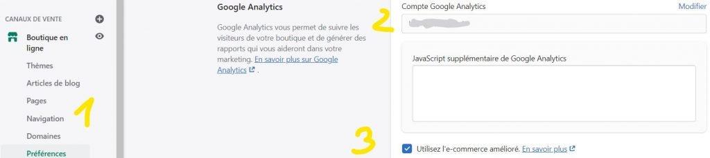 installer google analytics sur shopify