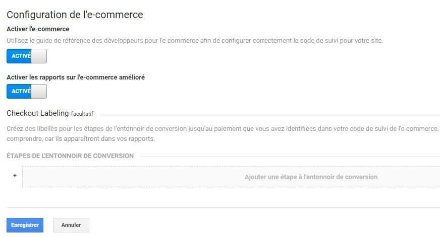 configuration de l'e-commerce Google Analytics
