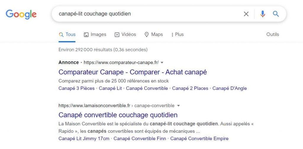 exemple annonce google - canapé lit - Google vs Facebook