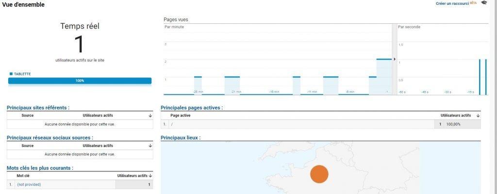 vu d'ensemble - rapport temps réel Google Analytics